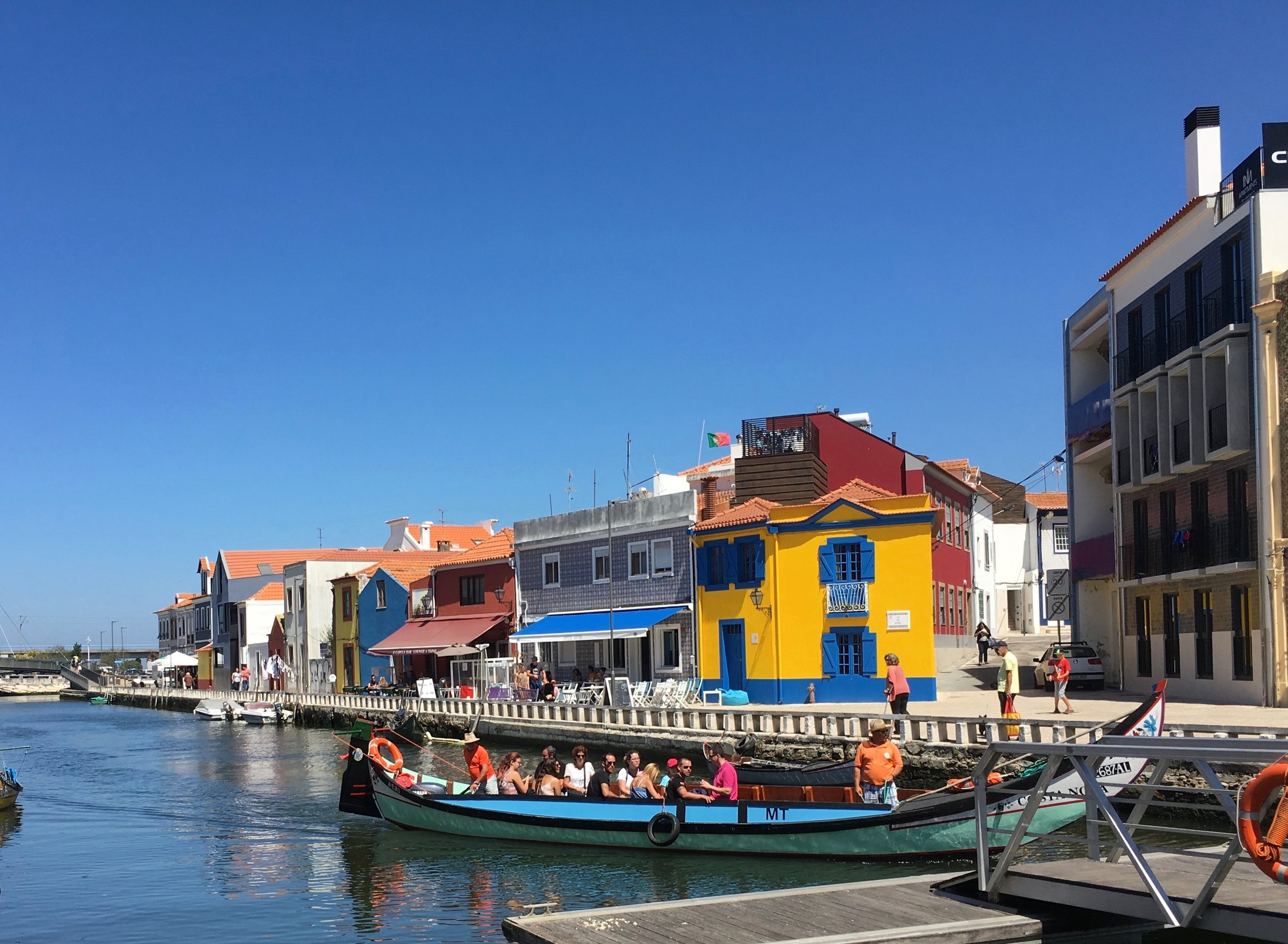 From Porto I traveled on a train to Lisbon and made a pit stop in Aveiro.  It's known as the Venice of Portugal. It's small and quaint and I spent a few lovely hours there wandering about town.
