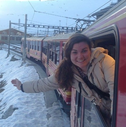 Mary on a train in Europe