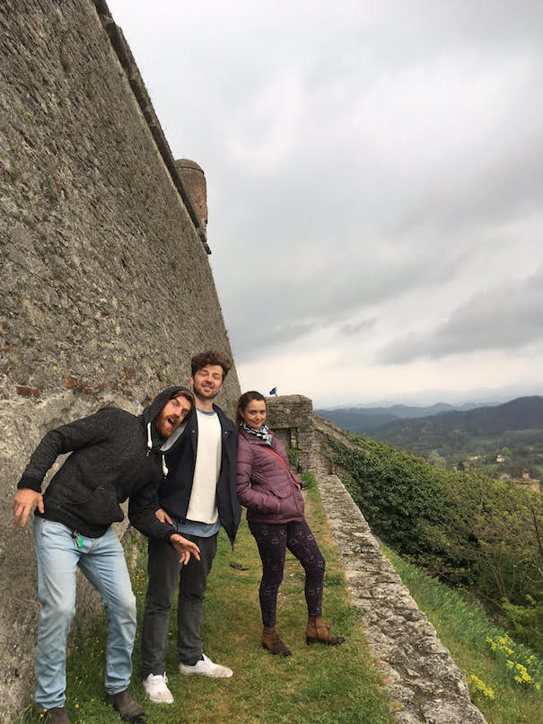 This is Lorenzo, Joe, and Christine. One rainy day Lorenzo took us all to check out this old fortress in Gavi.