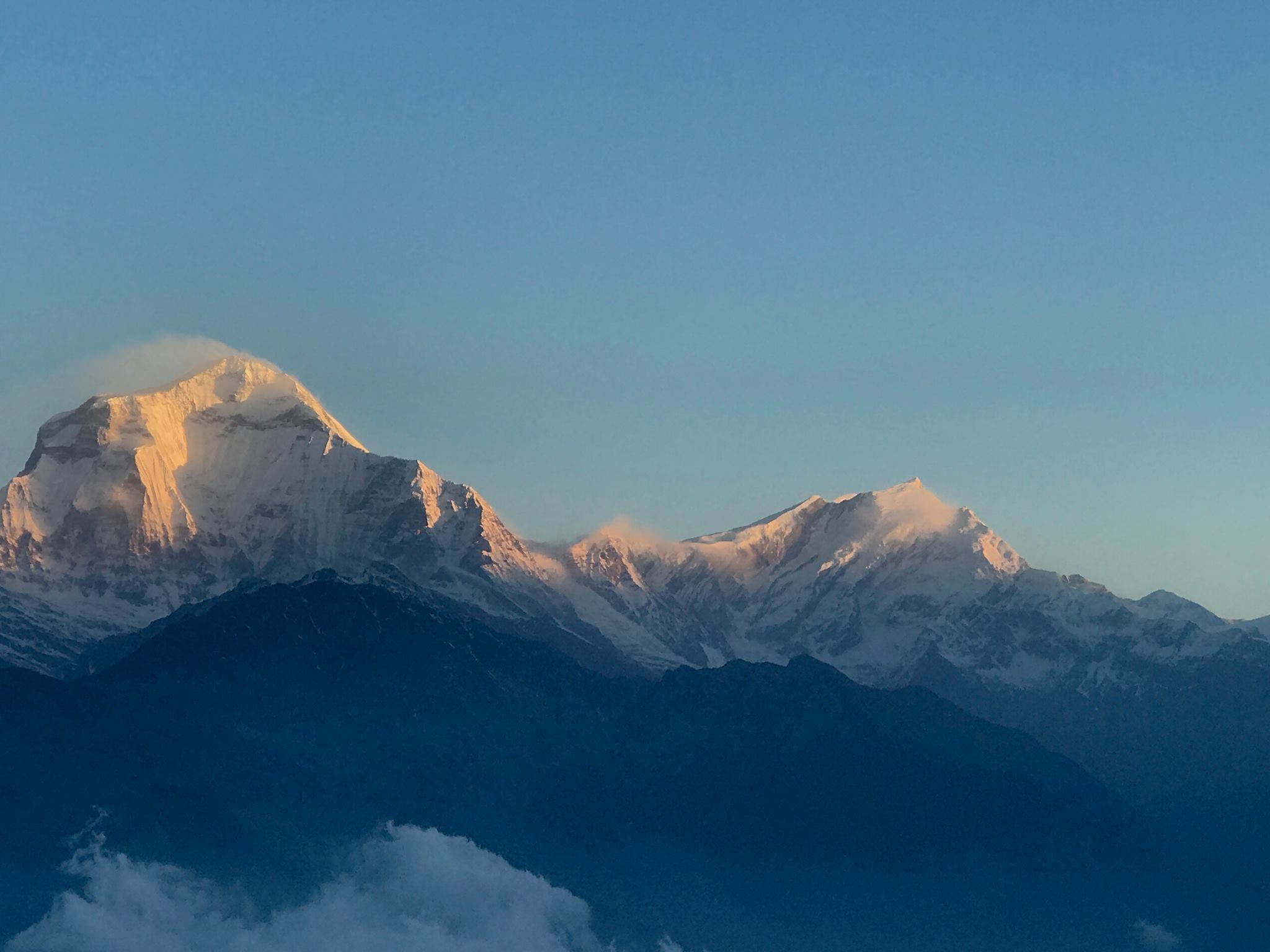 The morning sun shining on Dhauligiri, the 6th highest peak in the world.