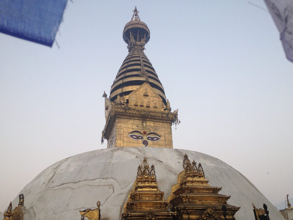 Swayambu Stupa at sunrise.