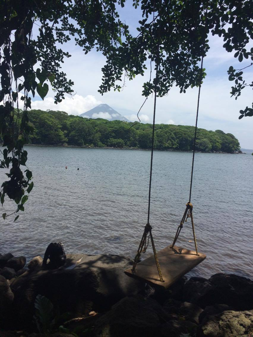 Can you see the volcano peak? This is the view from Isla de Ometepe