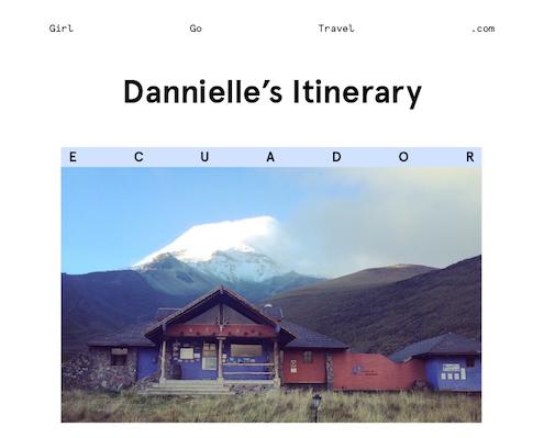 Dannielle's Ecuador  itinerary part 1