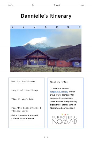 Save Dannielle's Ecuador itinerary to your Google Drive.