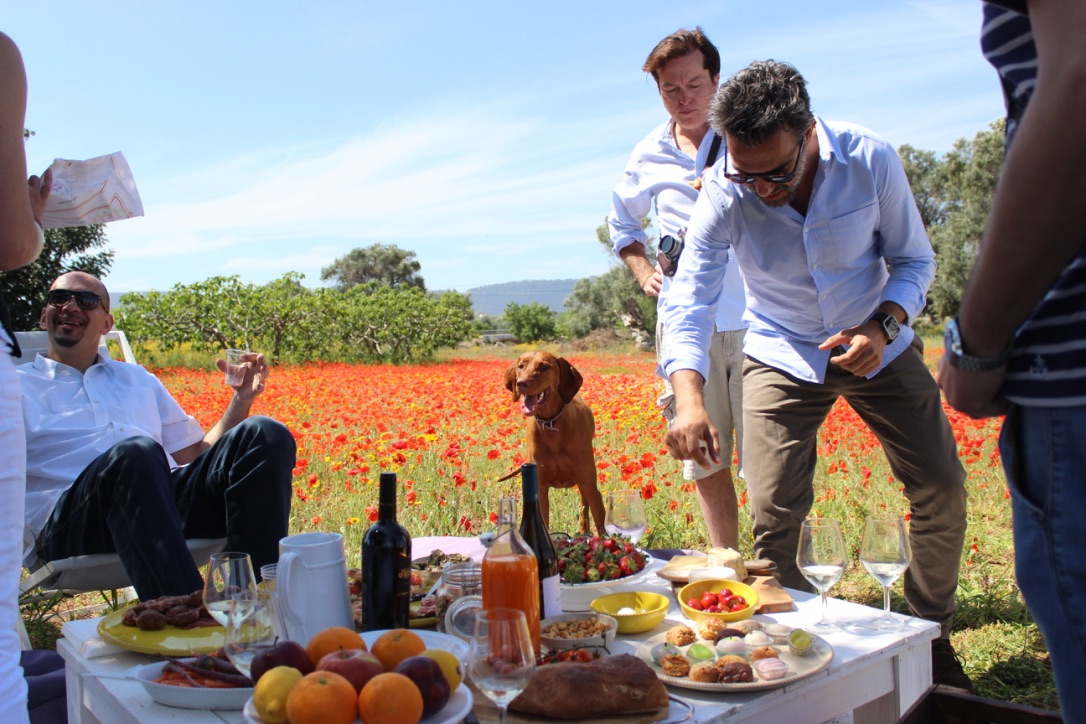 A dream come true--having a picnic, drinking wine, and dancing in a field of poppies!
