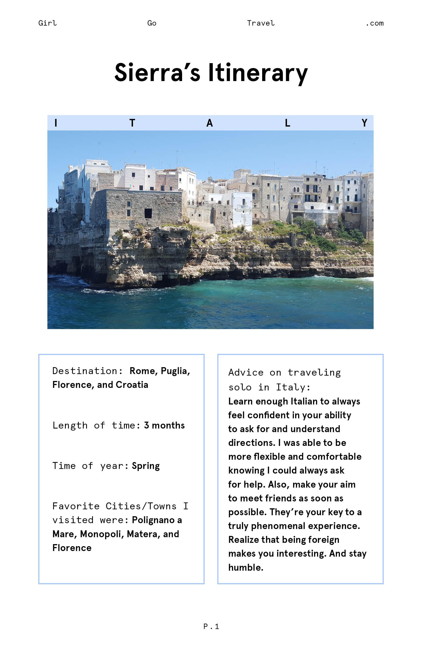 Sierra Italy Itinerary part 1