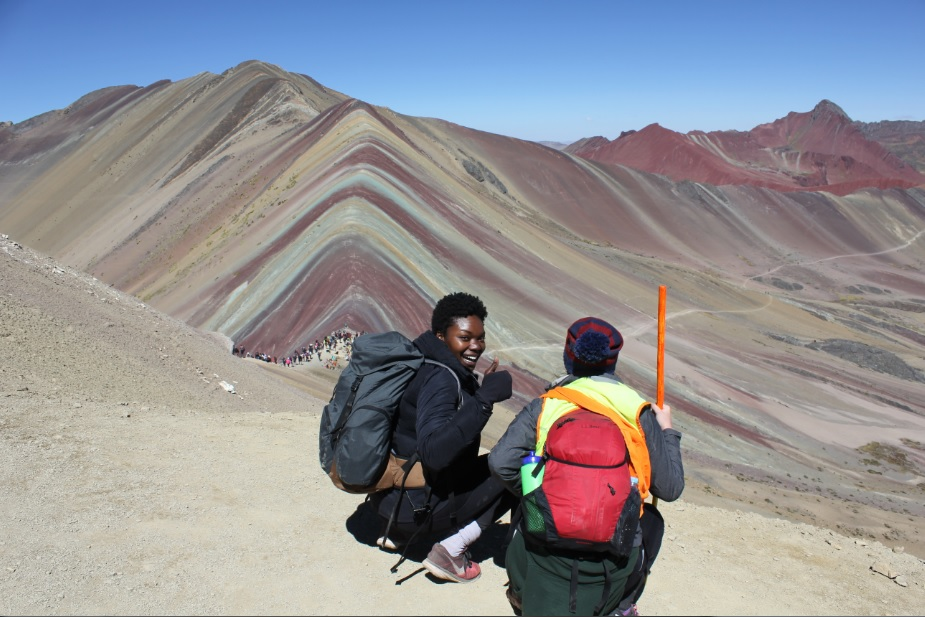 Getting our steps in at Rainbow Mountain. The altitude was no joke!    (photo cred: Andy)