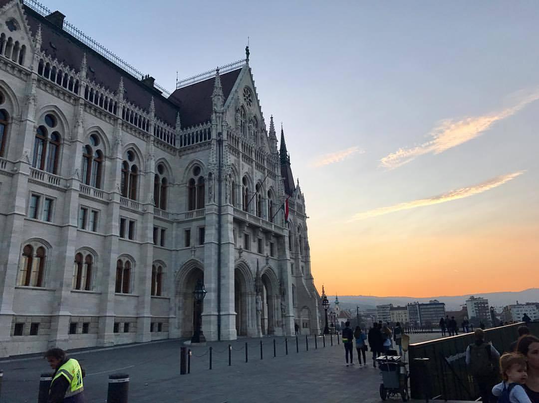 Budapest, Hungary by sunset.