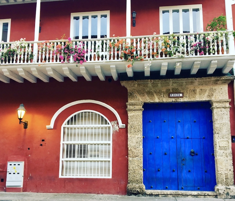 There are so many colorful facades inside the walled Old Town of Cartagena.