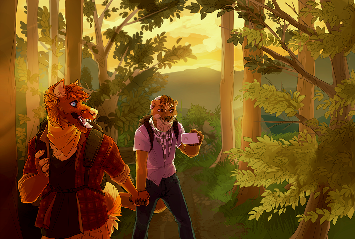June 23rd, 2015 - painttoolsai + photoshop  private commission for a client featuring his personal character and his partner