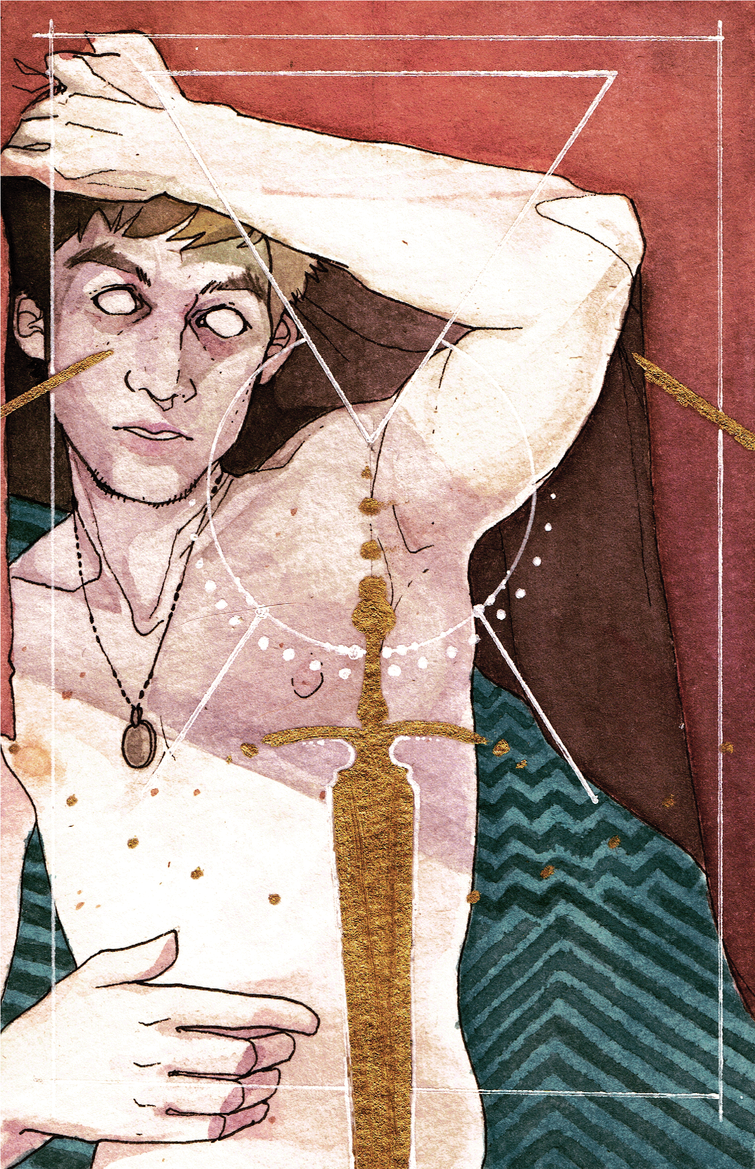 Dec 2014 - Watercolour + Goldleaf  Personal Painting for the Arisia Art Show