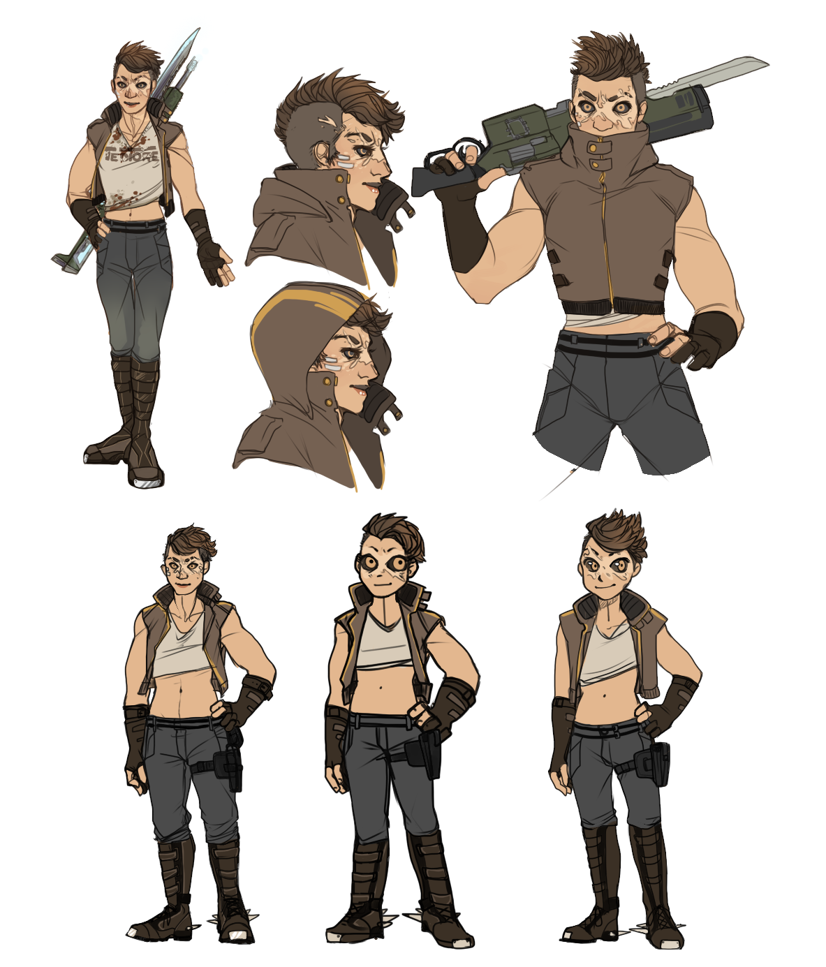 Feb + Oct 2015 - PaintTool Sai  Concept/Reference art for a personal character + representation of her design in different styles