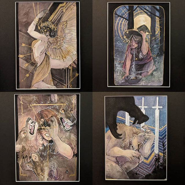 Paintings going to arisia this weekend -- all but the three of sword done over the last week! 💀💀💀 I don't save things for the last minute what are you talking about -   for a video of the gold on the first painting #tarot #witch #illustration #illustrator #watercolour #artistsoninstagram #wolf #wolves #painting #tarotart #swords #themagician
