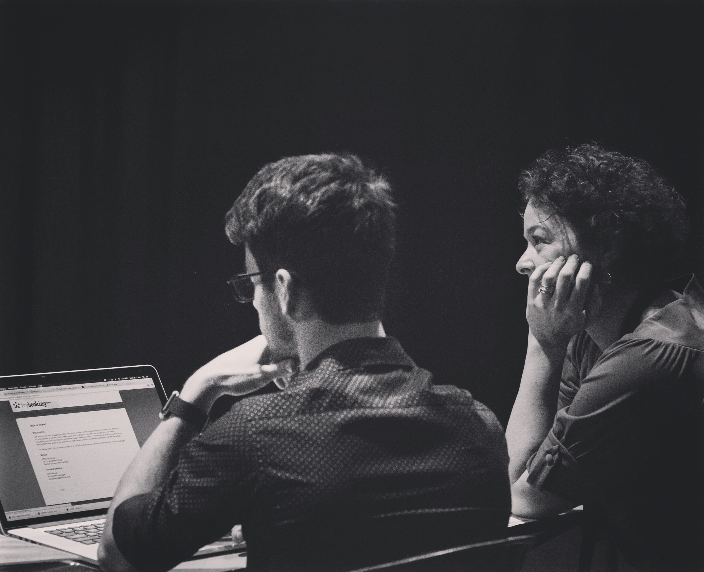 With SM Kristen Beever, rehearsals for [title of show] 2015