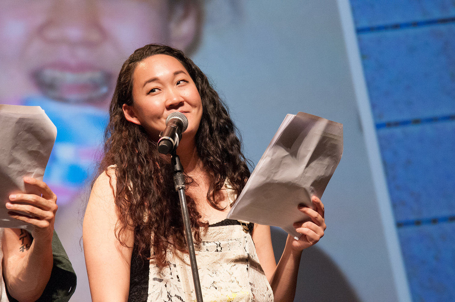 Naomi performing at the Aratani Theater for the Mortified's Guide to Growing Up Asian American at the Comedy Comedy Festival. August 26, 2016.