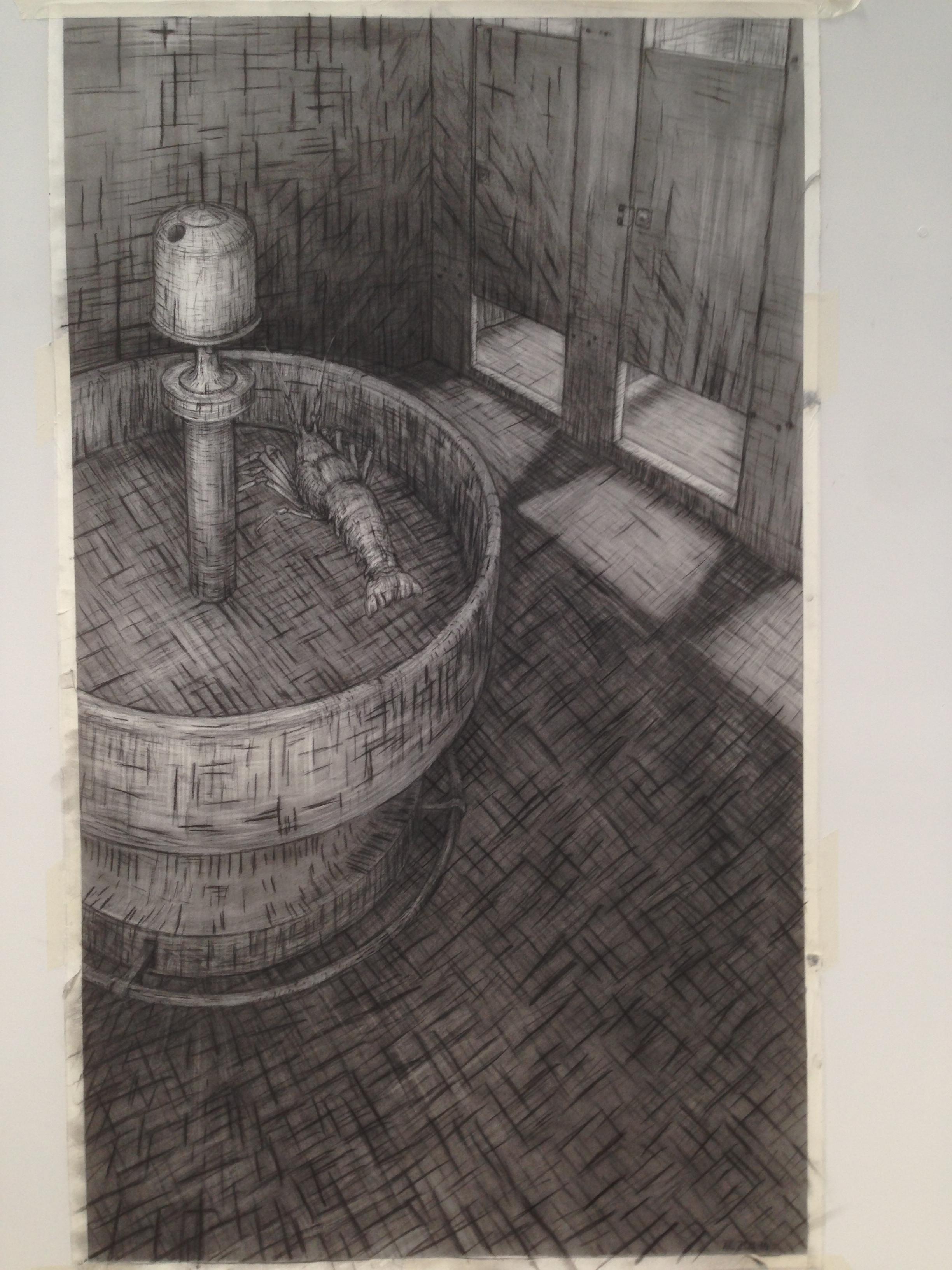Angela Casey - Vertigo, 2011-2014, charcoal on paper, 183 x 110cm