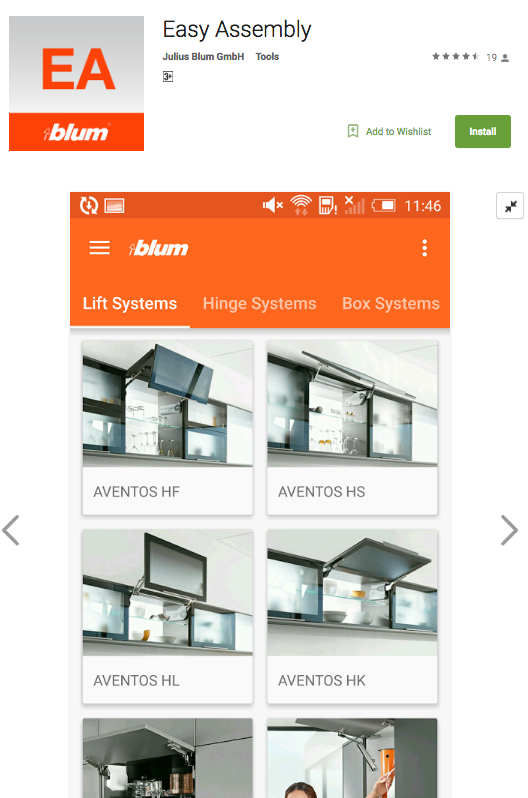 The Blum Easy Assembly App is available on  Google Play  or  Apple iTunes