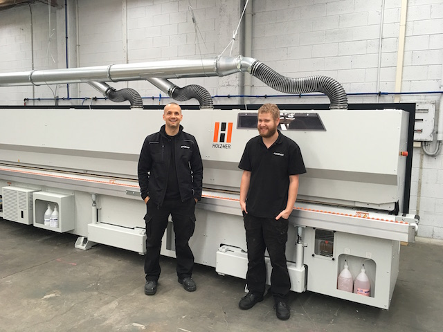 Keith and Anthony in front of the Holzher edgebanding machine