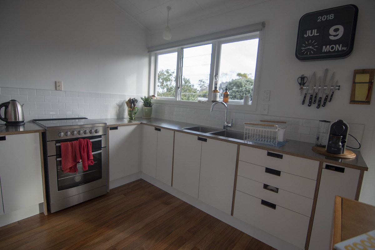 L shaped kitchen.