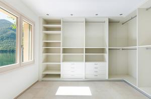 Wardrobe doors and shelves.