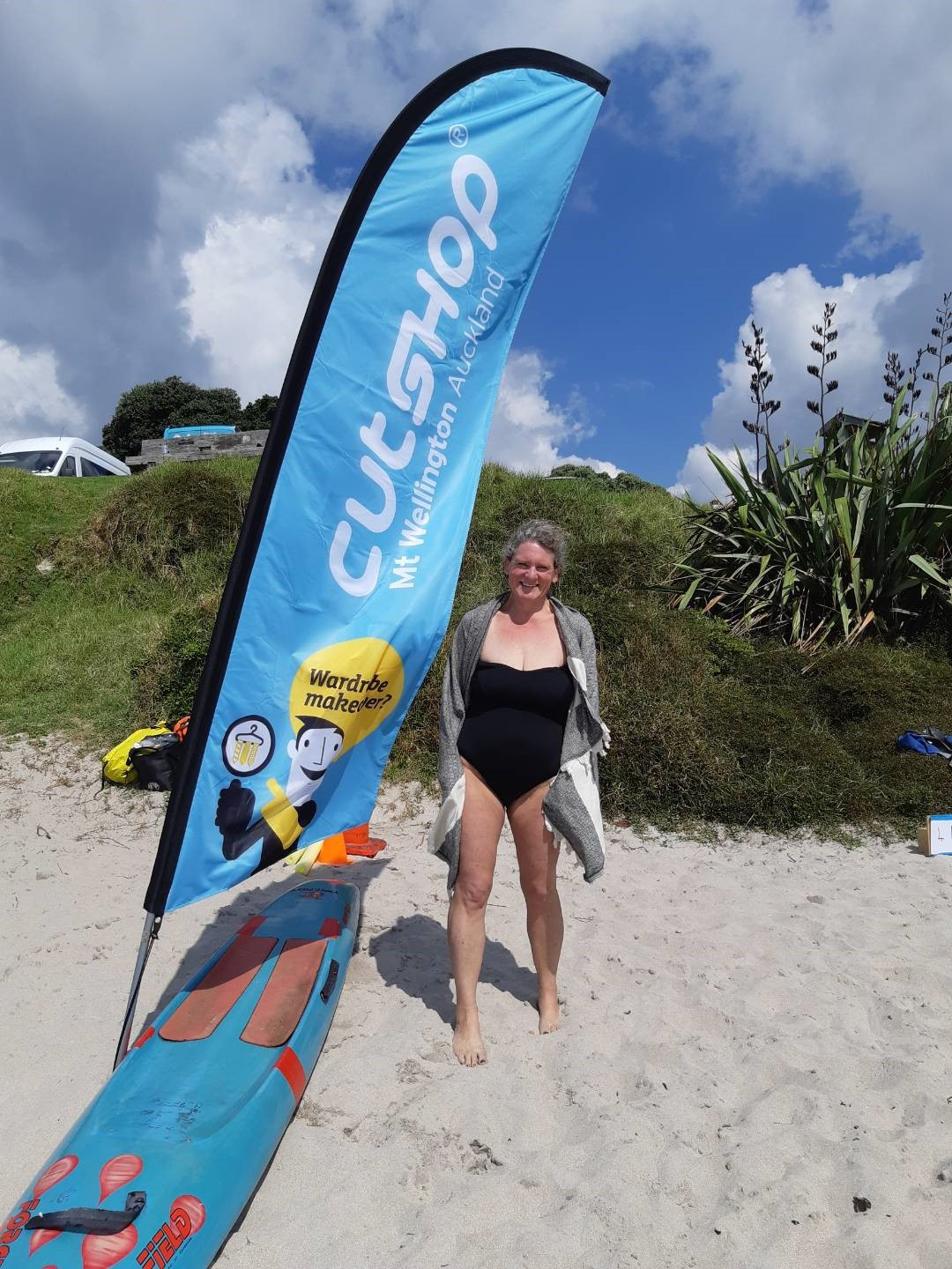 In a cool coincidence, this Cathedral Cove swimmer, Esther, just had a kitchen unit cut with Cutshop.
