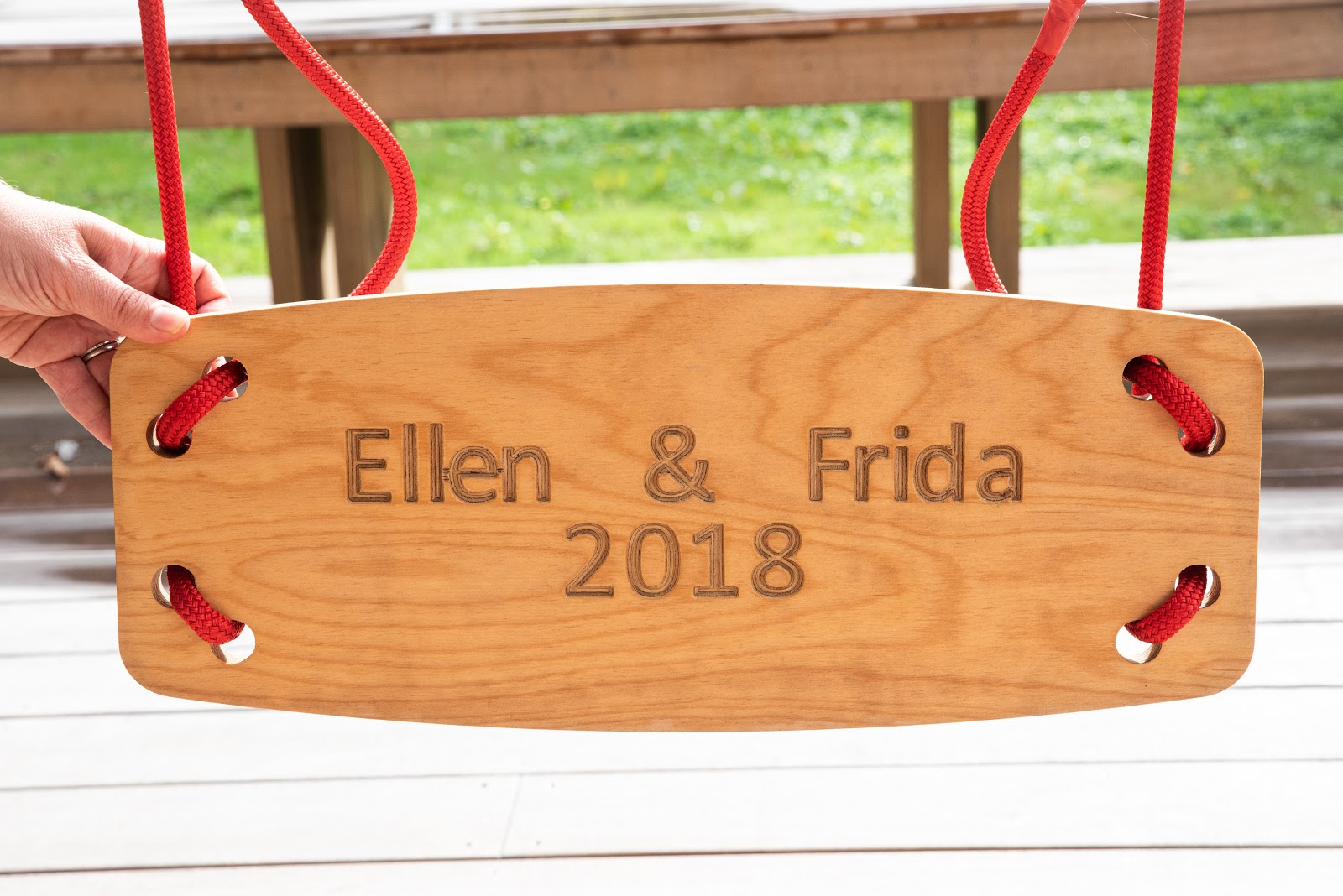 wooden swing engraved