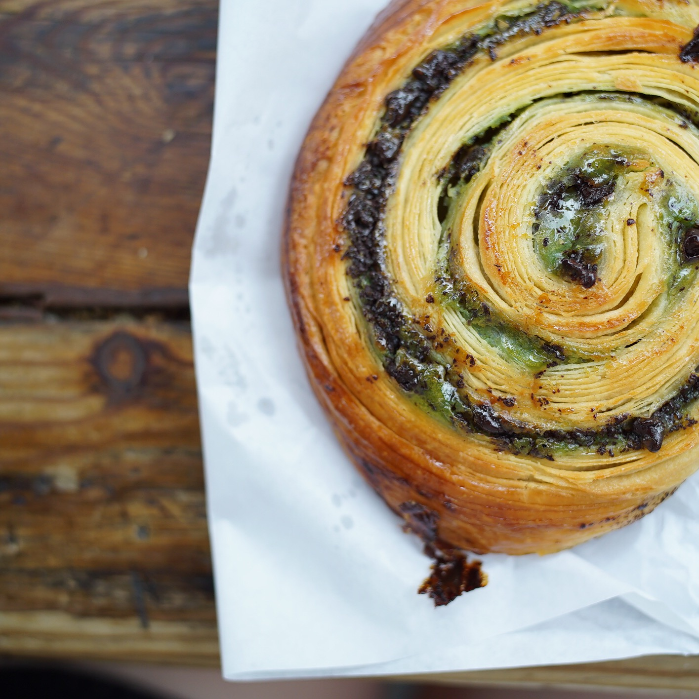 Pistachio and chocolate Escargot