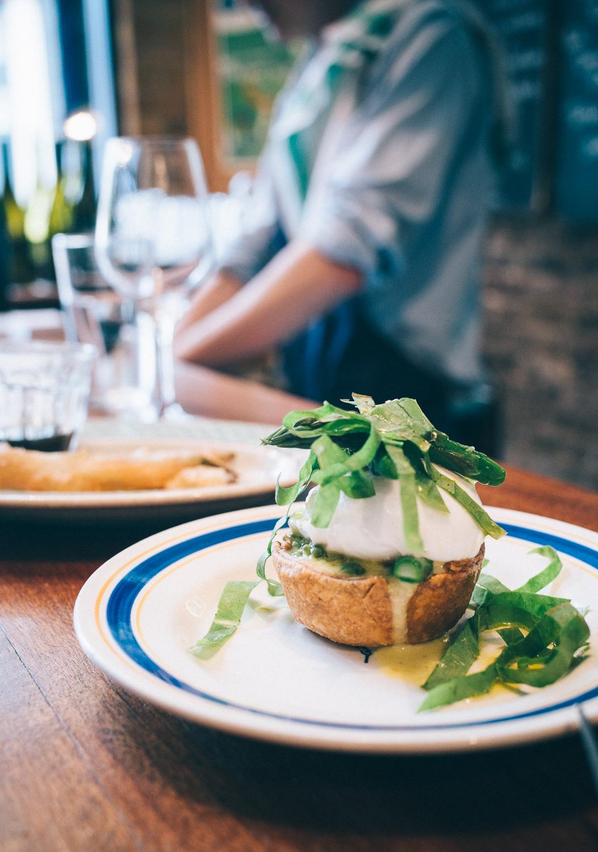 Asparagus sorrel tart + poached egg
