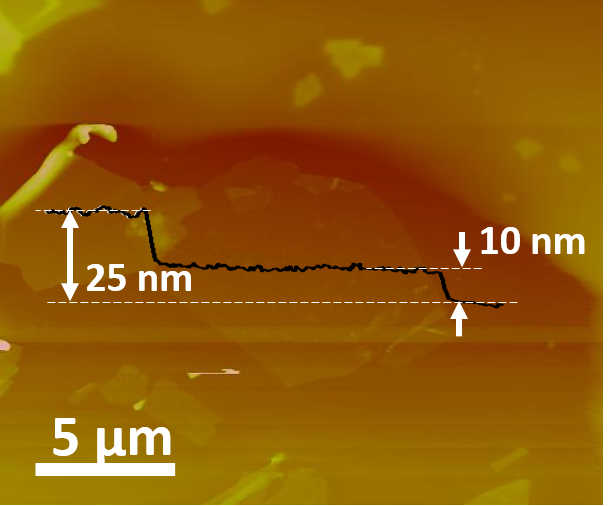 Atomic Force Microscopy image of black phosphorous. (Image from Su & Zhang, 2015).