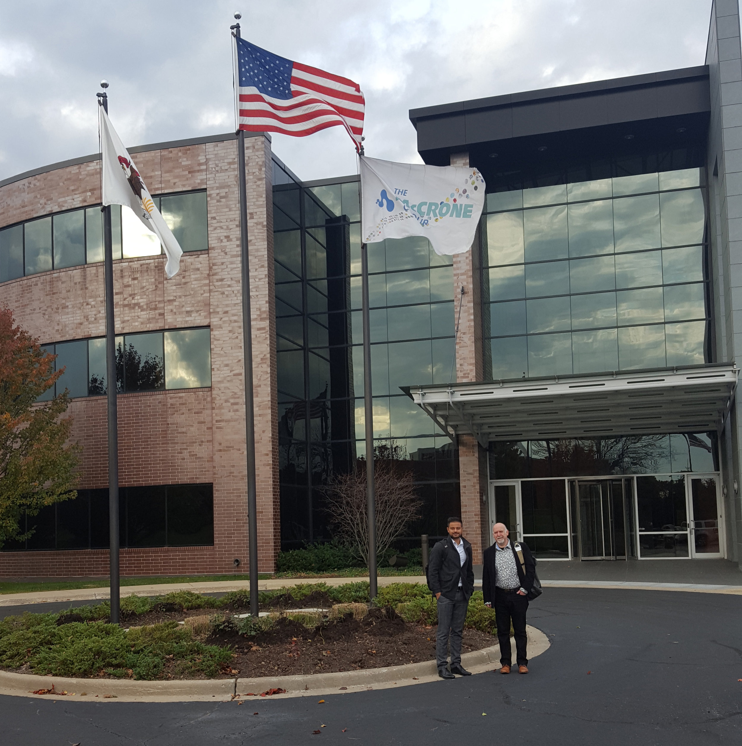 Ricky Patel and Duncan Stacey outside the McCrone building in Illinois.