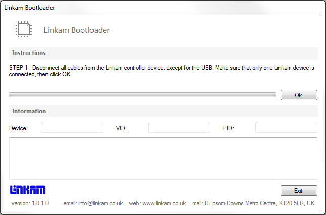 Make sure that the only Linkam device connected to your PC is the one you wish to update the firmware on and click OK.