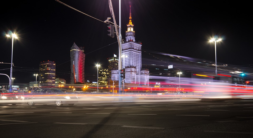 Warsaw at night - the largest city and capital of Poland.