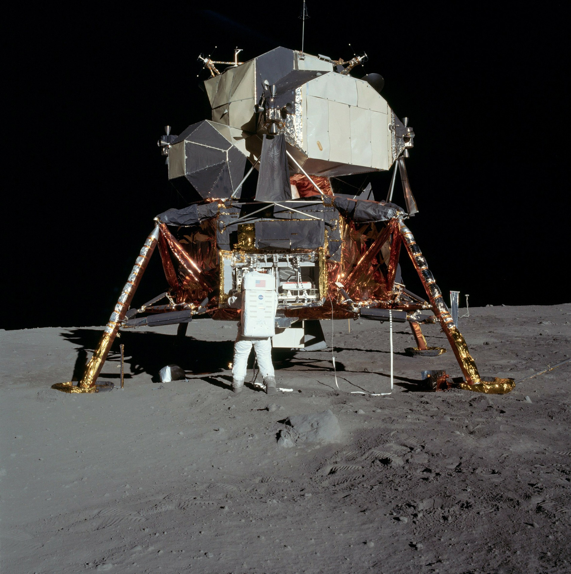 Apollo 11, the first manned lunar landing, with astronaut Buzz Aldrin.