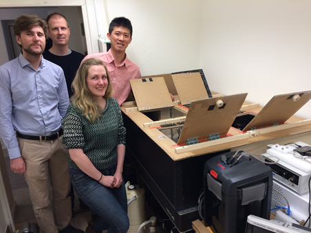 Dr. Maths Karlsson (back left), Post Doc Mikael Andersson (front left), PhD. students Yuan-Chih Lin (back right) and Carin Eklöf-Österberg (front right), with their optical setup together with a Linkam system