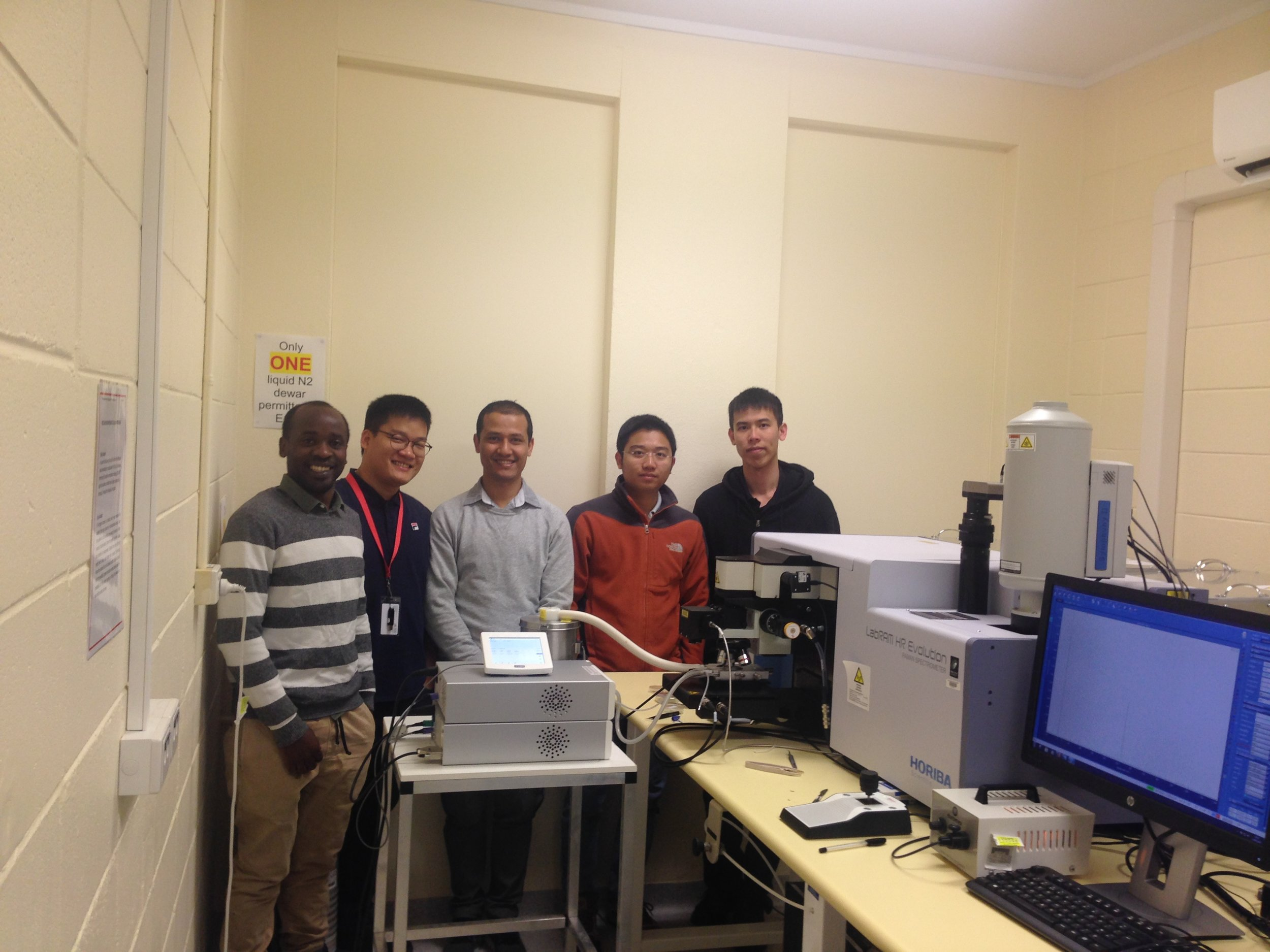 Caption 1: Dr Hieu Nguyen (second right) and PhD students Mike Tebyetekerwa (first left), Thien Truong (second left), Rabin Basnet (third left) and honour student Zhuofeng Li (far right).