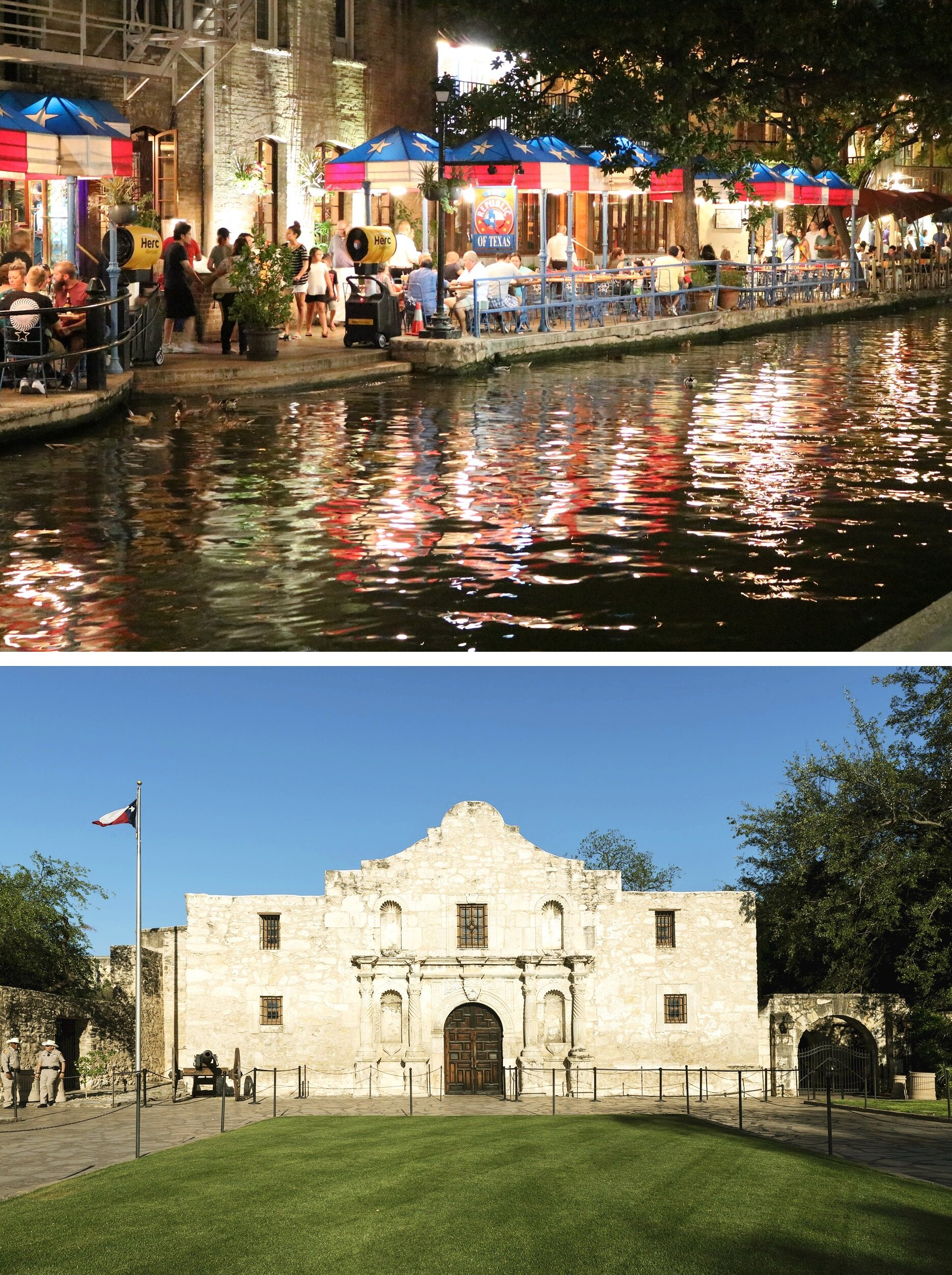Upper: San Antonio Riverwalk. Lower: The Alamo