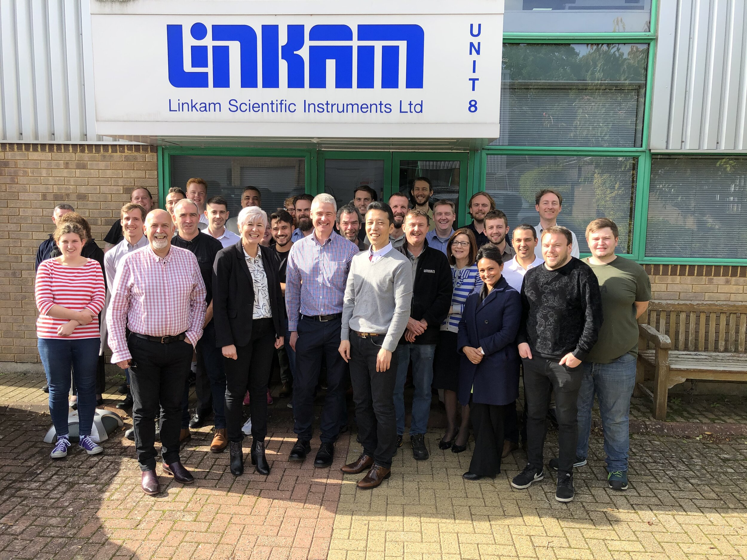 Staff at Linkam welcome the CEO of Japanese High Tech, Koichi Iwasaru