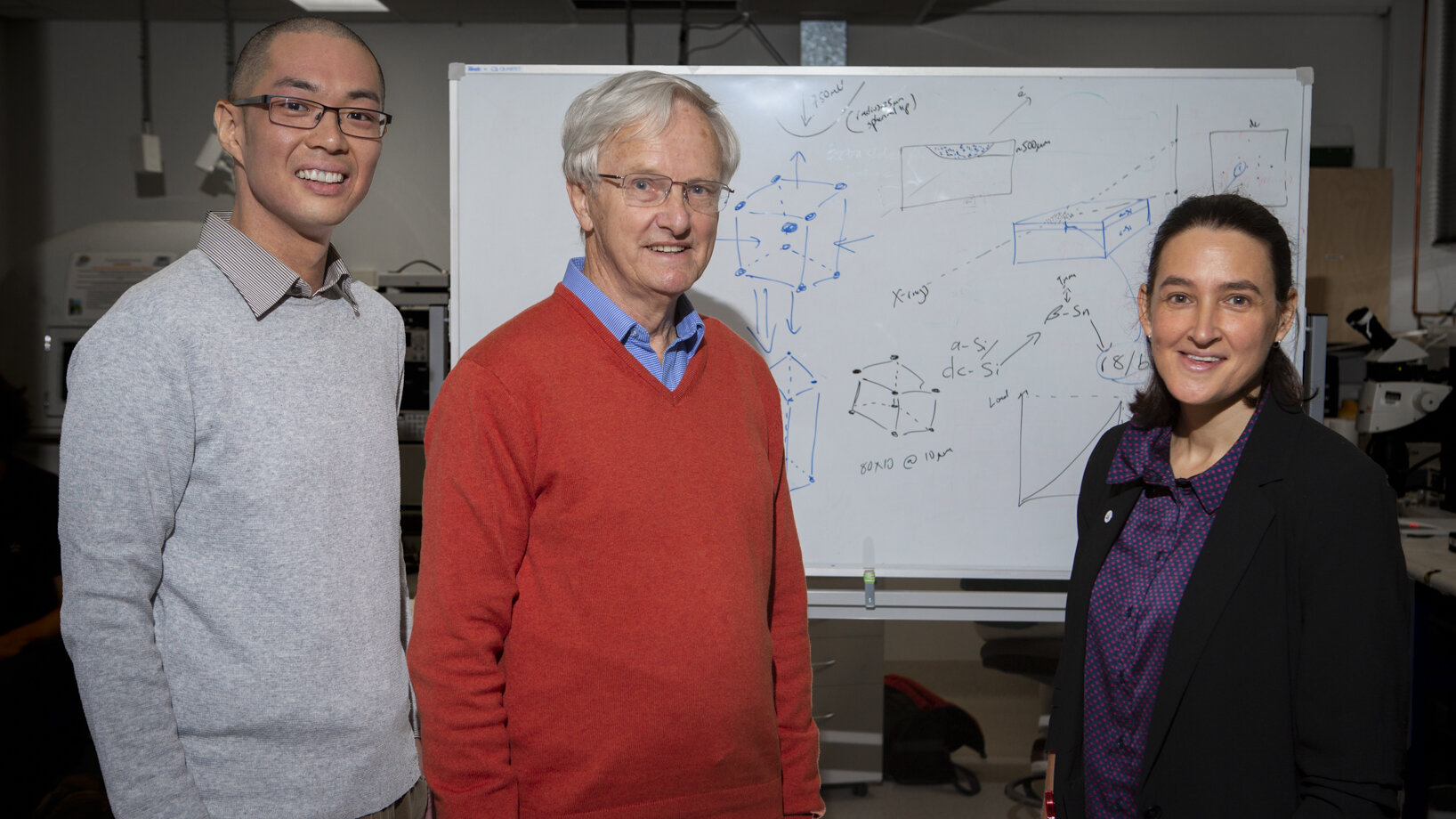 (Left to Right) Dr Sherman Wong,   Prof. Jim S. Williams and Prof. Jodie E. Bradby in their lab at the Australia National University