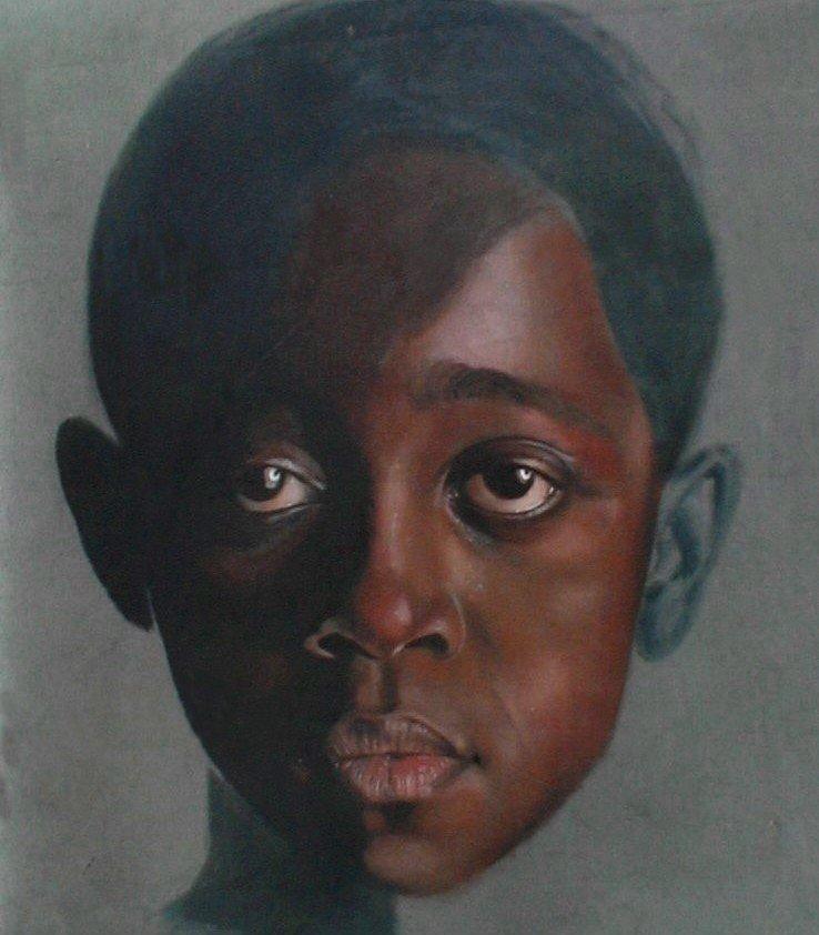 Boy with Blue Ear, oil portrait, classical, realism,