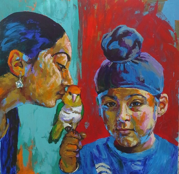 Acrylic, Abstract, Portrait, expressionistic, with pet, painting, children