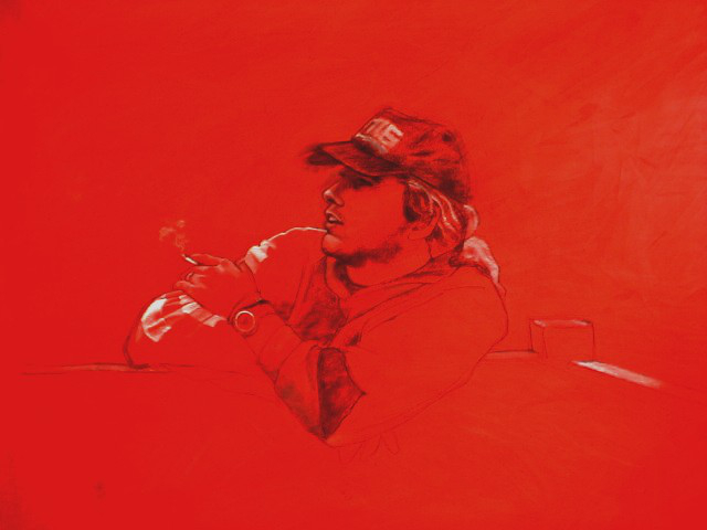 portrait of Ivor in red drawing and painting acrylic charcoal and gesso.JPG