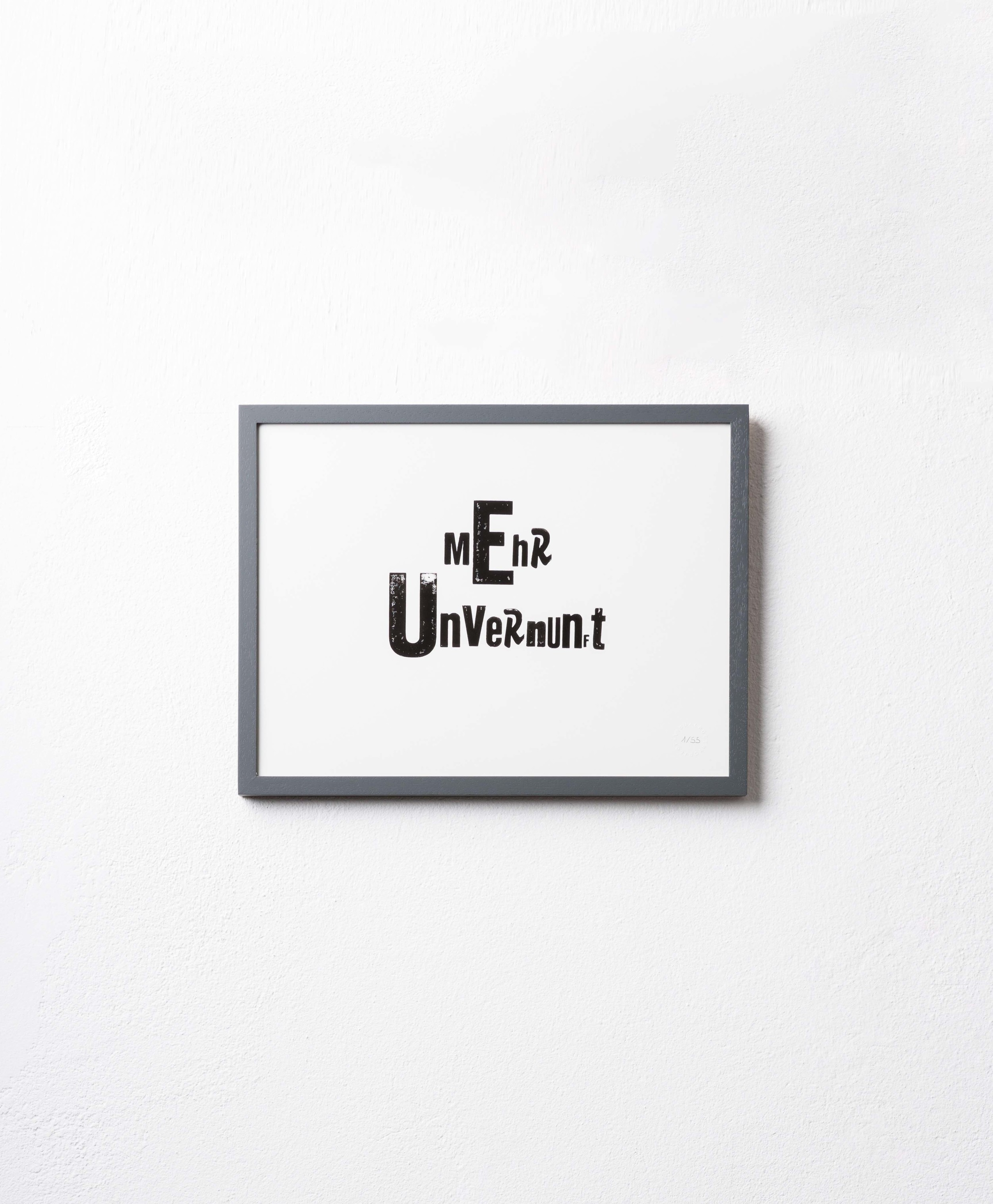 UNVERNUNFT Limited Edition Print / Handgestempelt / 30 x 40   65 EUR