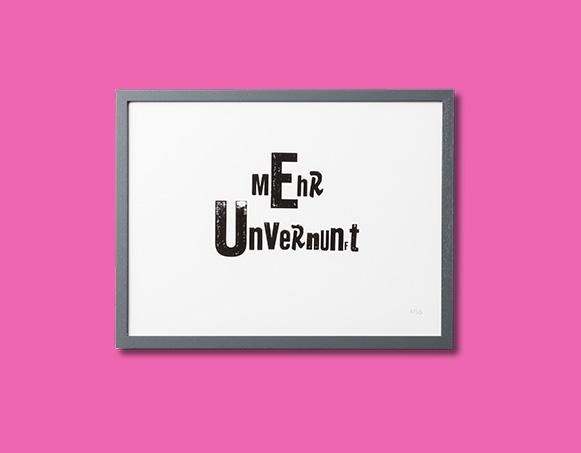 UNVERNUNFT Limited Edition Print / Handgestempelt   65 EUR