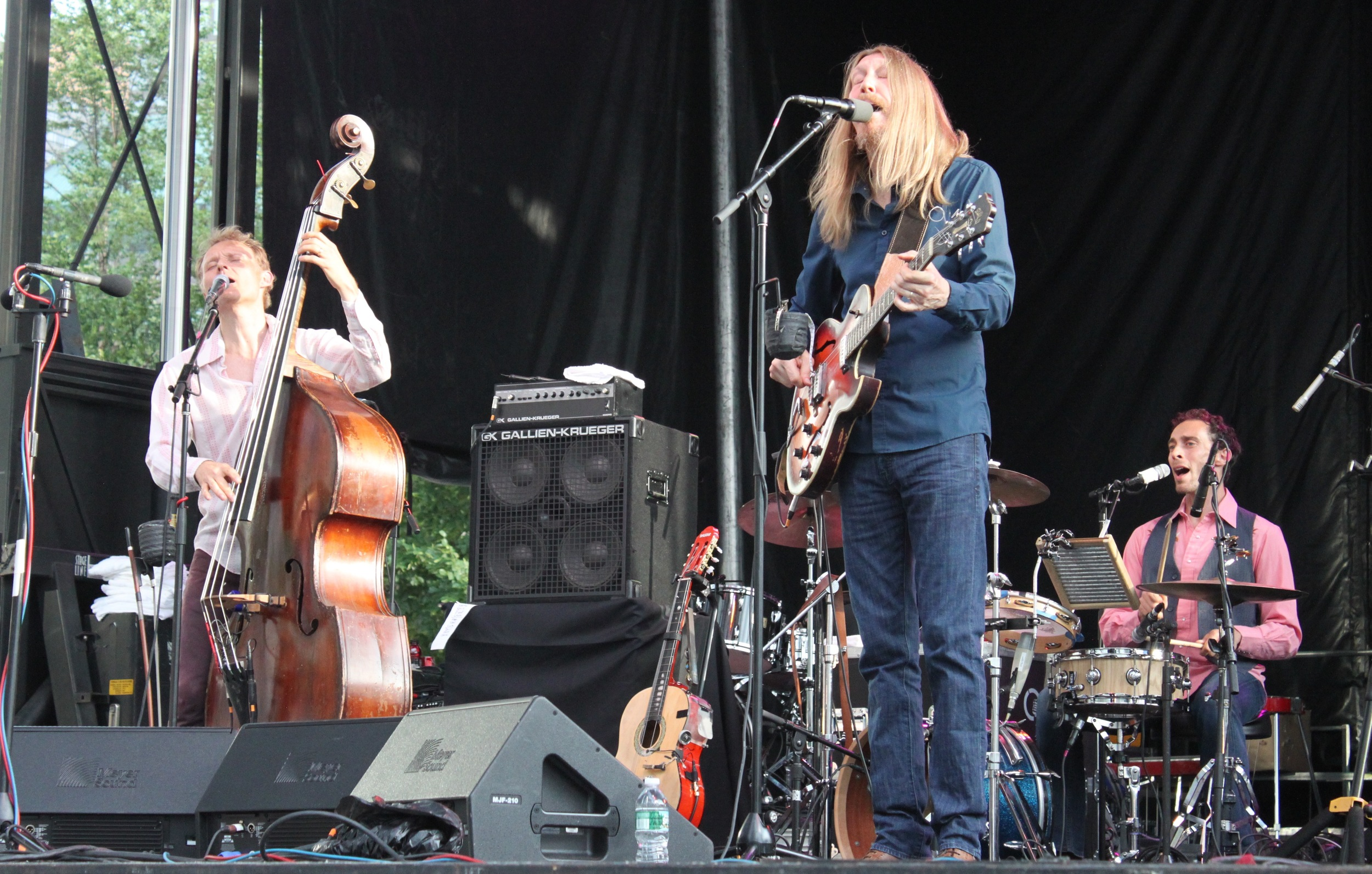 The Wood Brothers perform live at The Lowdown Hudson Music Fest (L to R: Chris and Oliver Wood, and Jano Wix).