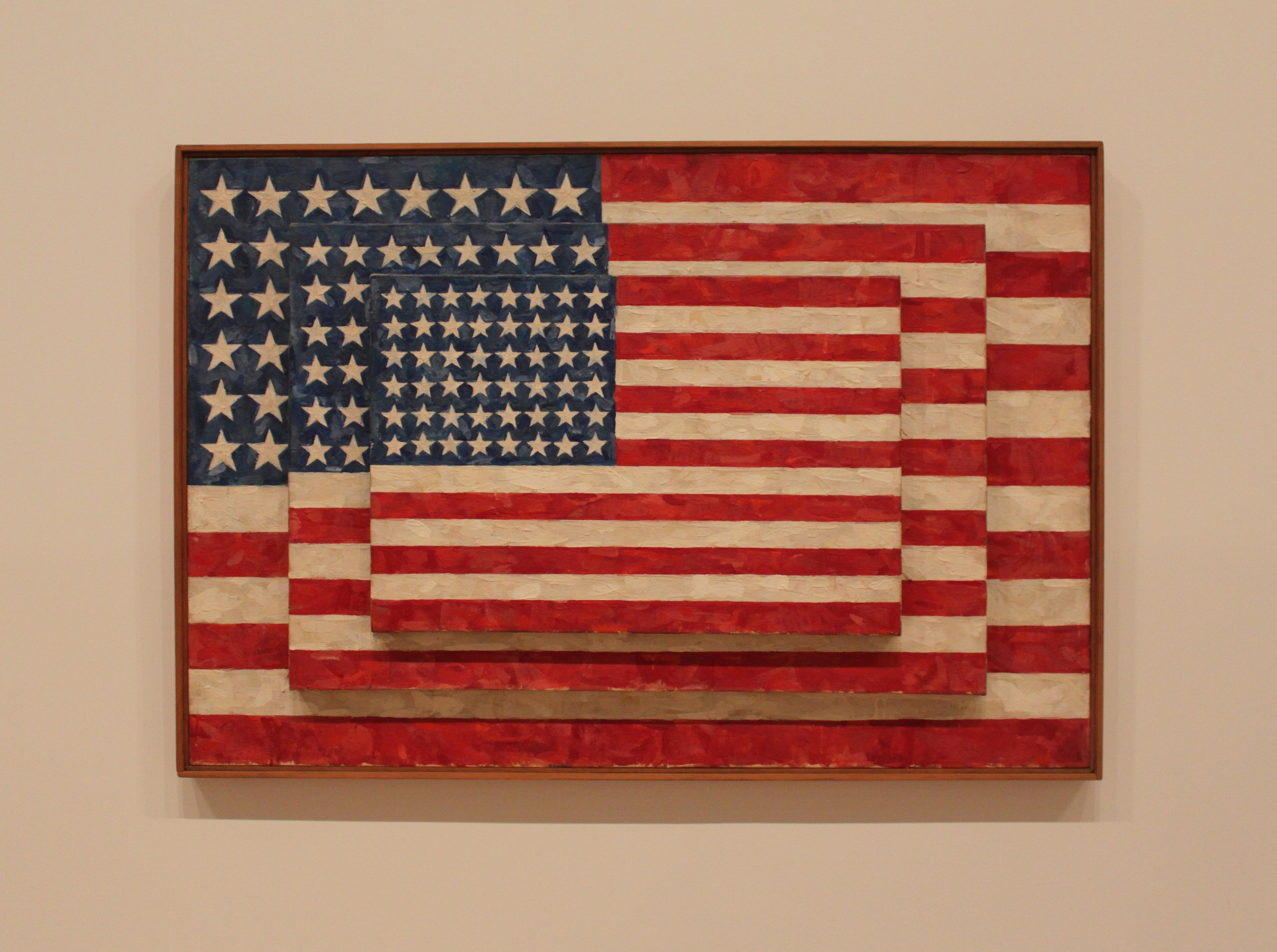 Three Flags,  1958 - Jasper Johns [encaustic on canvas]