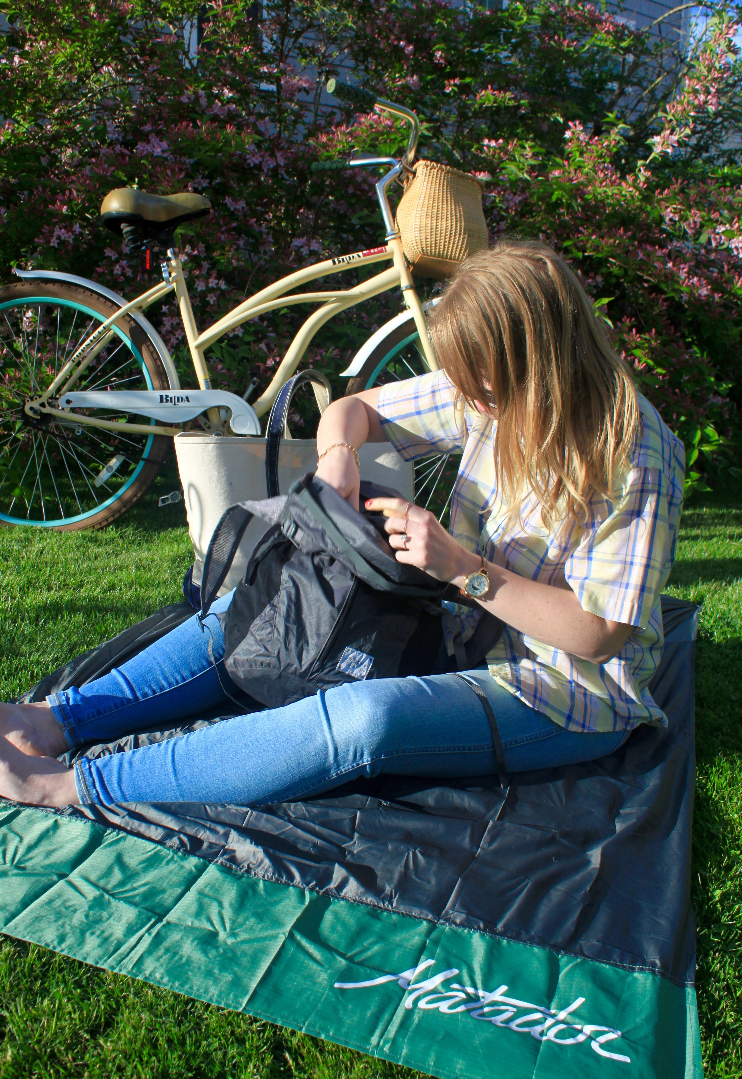 Matador Freerain24 Backpack: $59.99 ( center ) &  Matador Pocket Blanket 2.0 ( base layer )