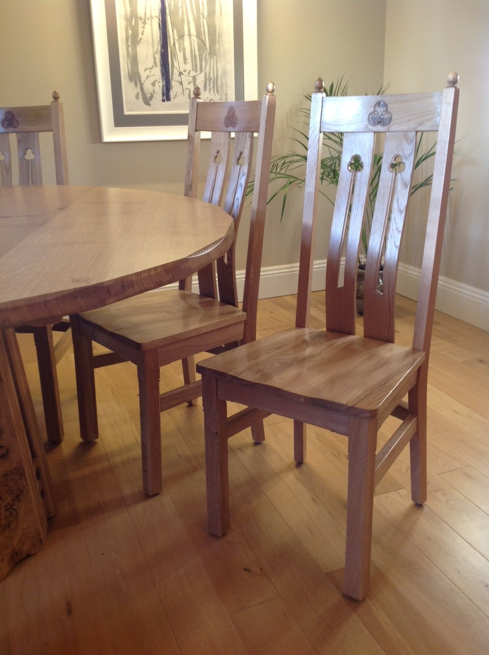 3 dining chairs adapted to match new table .JPG