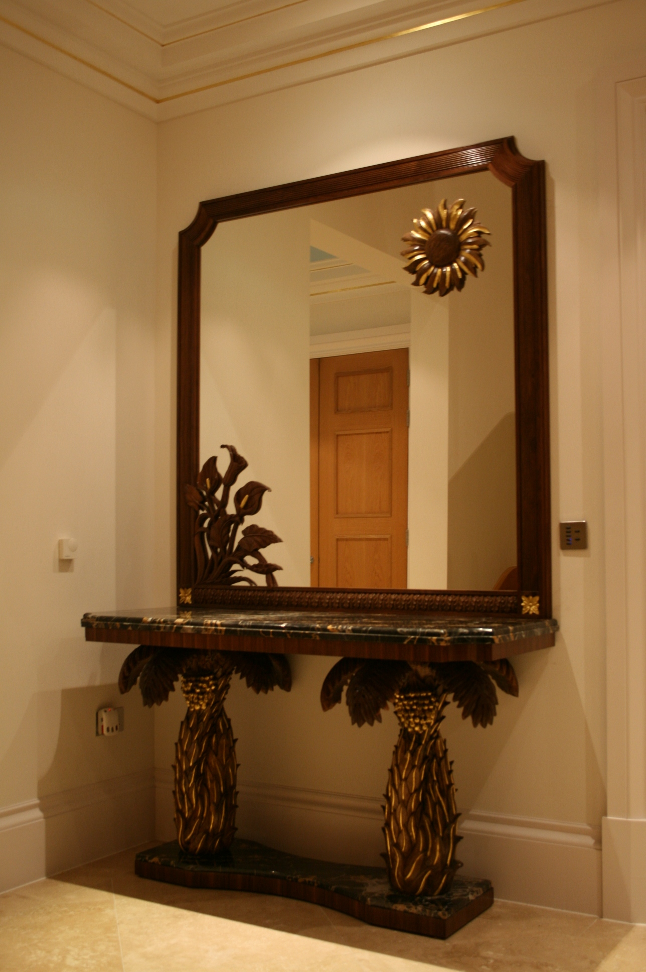 Date palm console table with mirror.JPG