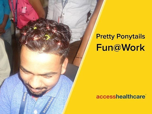 "Our people in Pune decided to show off their hairstyling skills, but with a difference. Most of their ""test subjects"" did not have a lot of hair to be styled so it was a bigger challenge! #AccessHealthcare #PonyTails #FunatWork"