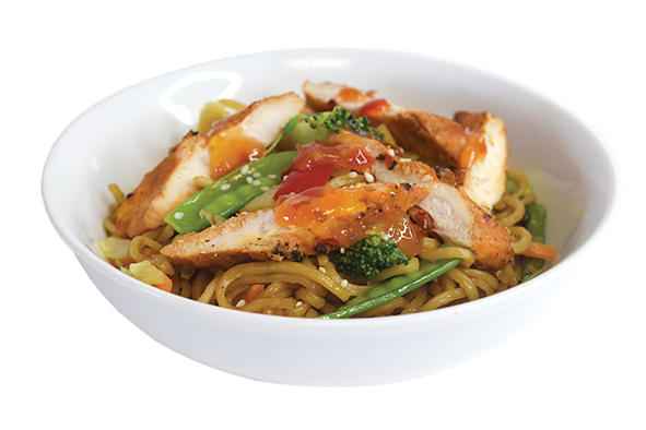 Yaki Soba Noodles, Vegetables, Topped with Sweet Chilli Chicken
